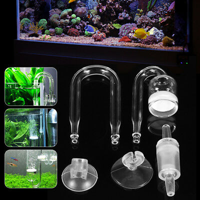 Fish Tank Aquarium CO2 Diffuser Check Valve U Shape Glass Tube Suction Cup Set
