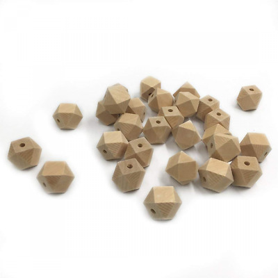 Coskiss 50pcs Baby Teether Toys 0.63inch(16mm) Wooden Geometric Hexagon Beads Nu