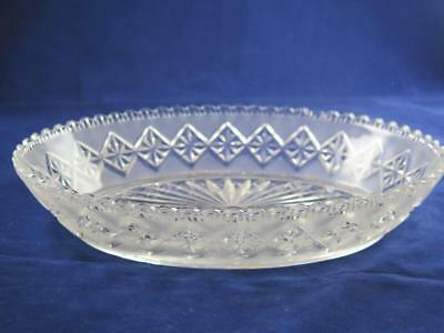 ANTIQUE VICTORIAN Oval Serving Dish with Frosted Sides & Diamond Shaped Pattern