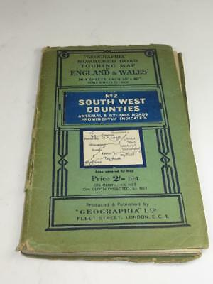 VINTAGE 'GEOGRAPHIA' Numbered Road Touring Map No 2 SOUTH WEST COUNTIES 1940s