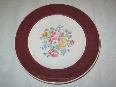 REPLACEMENT CHINA WASHINGTON POTTERY Side Plate Pink Rose Maroon Border 1958