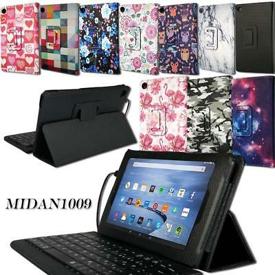 Leather Stand Cover Case + Micro USB Keyboard For Amazon Kindle Fire HD 10 Alexa