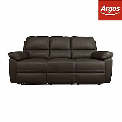 Argos Home Toby 3 Seat Faux Leather Recliner Sofa -Chocolate