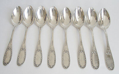 "JENNY LIND Set 8 ALBERT COLES NY 6"" Pattern STERLING COIN SILVER TEA SPOON 1850"