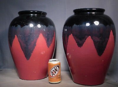 Pair Antique BIG Zanesville Stoneware Arts Crafts Pottery Drip Glaze Floor Vase