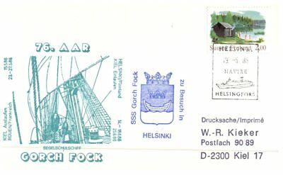 (C60) Germany Paquebot Cover - Gorch Fock visit to Finland