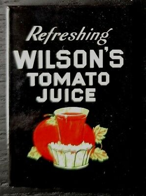 "Ande Rooney Enamel Magnet - Wilson's Tomato Juice Vintage Sign ""Refreshing"""