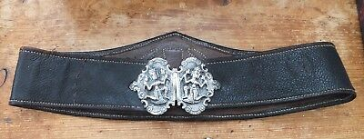 Antique Eastern Leather Belt With White Metal Buckle