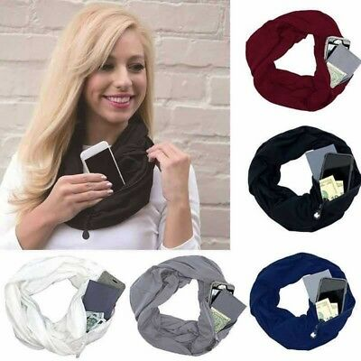 Winter Women Convertible Infinity-Scarf With Pocket Loop Scarf Zipper Pocket USA