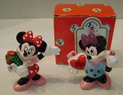 2 Walt Disney Minnie Mouse Ceramic Figures Sweethearts Forever One Box Enesco