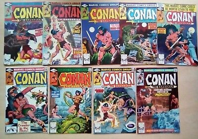 JOB LOT 9 x CONAN BARBARIAN #110,111,112,113,114,116,117,118,119 ALL FINE 1980