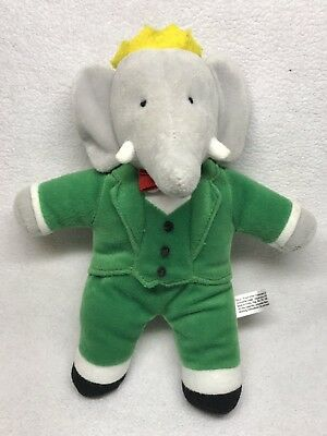 Babar The Elephant 8 5 Plush Stuffed Animal Doll Figure Green Suit