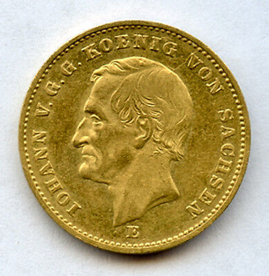 Germany Saxony 1873-E King Johann 20 Mark Scarce 1 Year Type Gold Coin Au.
