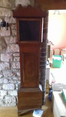 longcase grandfather clock case with hood. Spares or repairs