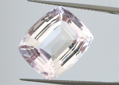 12.32ct BRAZIL NATURAL KUNZITE SPODUMENE very LIGHT VIOLET-PINK EMERALD CUSH