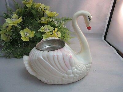 Vtg plastic swan decoration candle holder