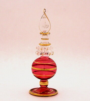 Egyptian Perfume Bottles - Blown Glass Hand Painted- Red - Gold Trim  8-1025-28