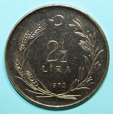 Turkey 2-1/2 Lira 1970 Brilliant Uncirculated Coin - Standing Figure