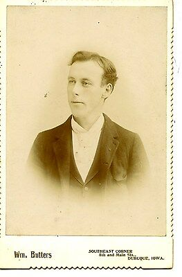 Portrait-Young Man-Butters Studio-Dubuque-Iowa-Vintage Cabinet Photograph
