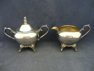 Wm Rogers Silver Plated Covered Sugar Bowl & Cream Pitcher