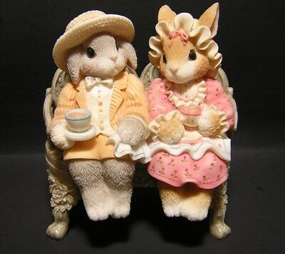 "My Blushing Bunnies ""Tea for You and Me for You""  With Garden Bench  by Enesco"