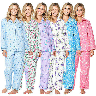 Casual Nights Women's Flannel Long Sleeve Button Down Pajama Set