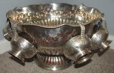 Vintage Silver Plated Punch Bowl With Six Cups