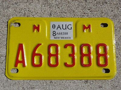 New Mexico 2008 motorcycle license plate #  A68388