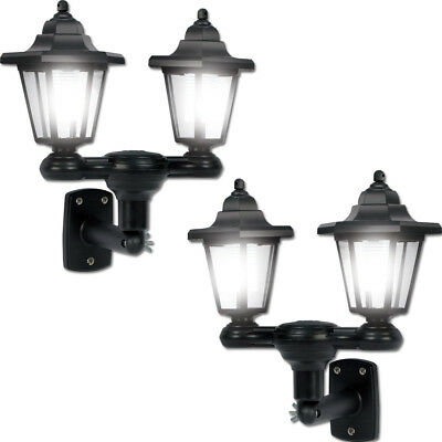 NEW 3-in-1 Dual Lanterns Solar Outdoor Lights (Set of Two) w/ Lamp Pole & Stake