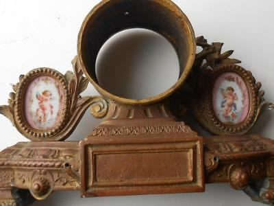 Super Antique Gilt Metal Spelter French Clock Case With Porcelain Panels Cherubs