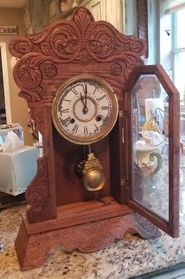 NEW HAVEN clock co ANTIQUE carved wood MANTEL chime CLOCK