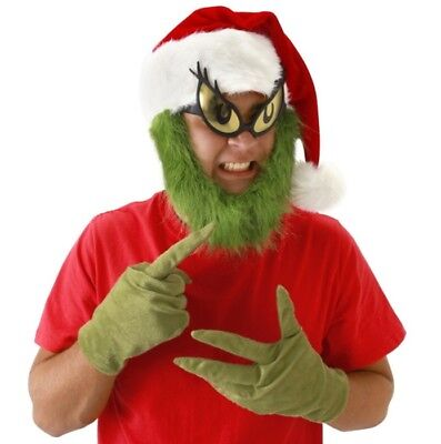 Dr. Seuss How The Grinch Stole Christmas Grinch Green Fur Gloves NEW UNWORN