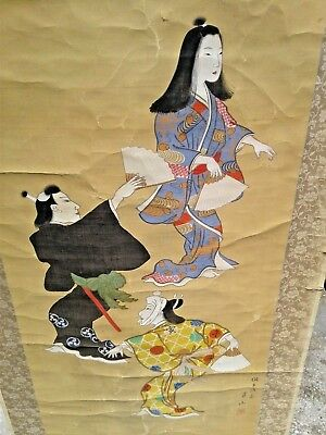 Antique Vintage Signed Japanese Kabuki ? Dancers Scroll Painting