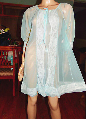 Vintage Chiffon & Lace Peignoir Robe, Med-Bust 42