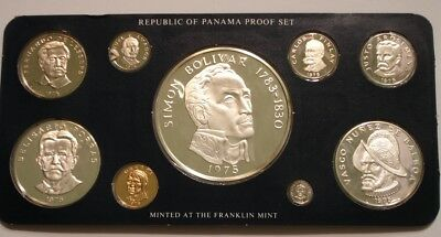 1975 PROOF SET of Panama superb Gem in Holder of Issue w/ COA 3 Silver Coin