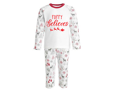 Personalised Christmas Eve Pyjamas PJs Reindeer Kids Baby's 1st Any Text Custom