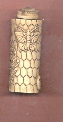 Vintage Butterfly  Snuff Bottle Hand Carved Signed With Spoon 478
