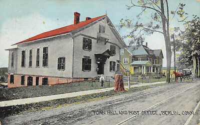 BERLIN, CT ~ TOWN HALL & POST OFFICE ~ AUGUST SCHMELZER CO., PUB.  ~ used 1914