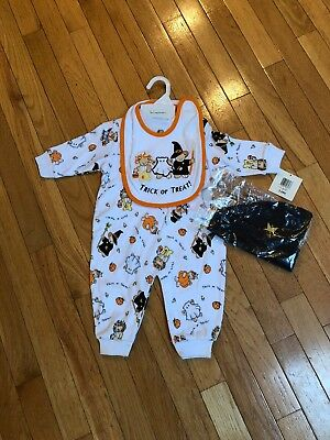 Infant Halloween One Piece Outfit W/ Bib And Hat, Sz 3-6 Months, NWT