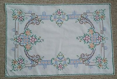 Vintage Hand Embroidered Floral Cross Stitch Tray Cloth Table Mat