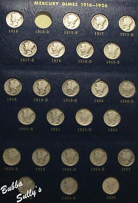 Nearly Complete Set of Circulated Mercury Dimes 1916-1945 in Whitman Album