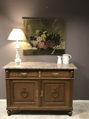 Antique French Cupboard, Sideboard With 2 Drawers, Marble Top And Key