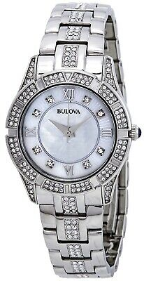 Bulova Crystals Mother of Pearl Dial Silver Tone Women's Watch 96L116 SD9