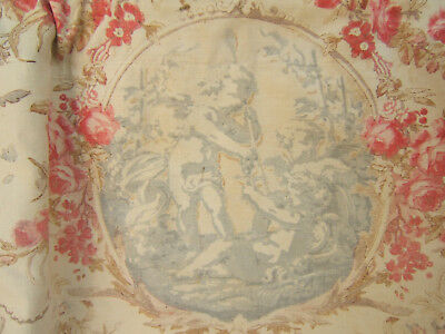 Antique French VALANCE CANOPY CURTAIN FABRIC ribbons roses garland putti cherubs