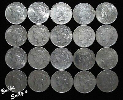 Roll of Assorted Date/Mintmark Peace Silver Dollars <> All Circulated