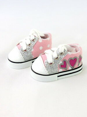 """18"""" Doll Hearts & Glitter Sneakers for 18"""" Girl Doll Sneakers Tennis Shoes"""