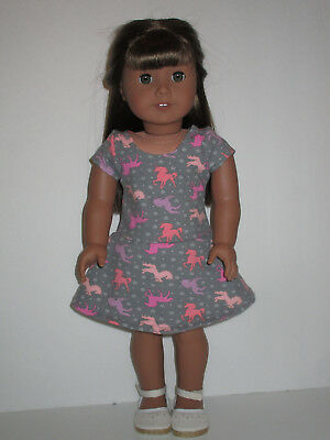 """Unicorn/Gray Knit Dress for 18"""" Doll American Girl Doll Clothes"""