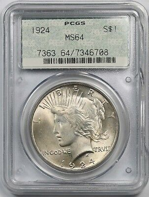1924 $1 PCGS/Doily Holder MS 64 Peace Silver Dollar