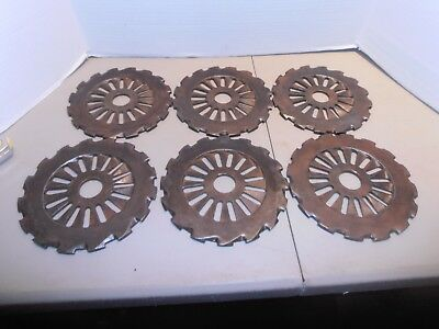 Vintage Original Cast Iron Horse Drawn Corn Planter Plates - Matched Set of Six