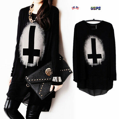 Women Gothic Punk Pullover Black Long Sleeve Cross Print Tops Loose Shirt Blouse